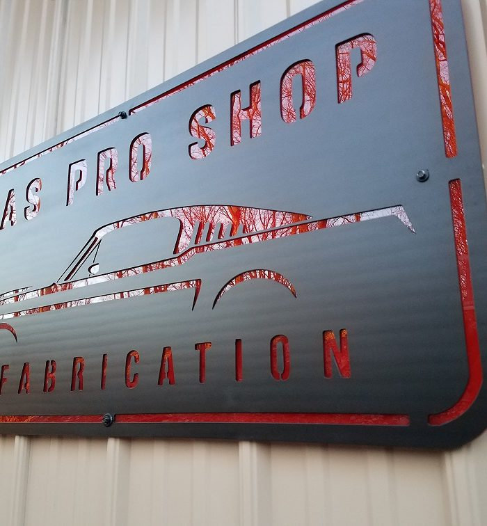 Gas Pro Shop & Fabrication Red and Grey sign