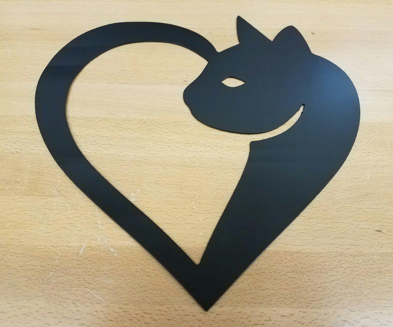 Cat Heart Metal wall art plasma cut decor kitty gift idea - Gas Pro ...
