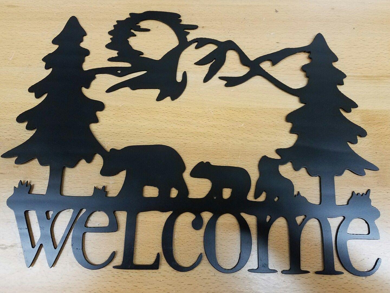 Bear welcome sign metal wall art plasma cut home decor gift idea ...