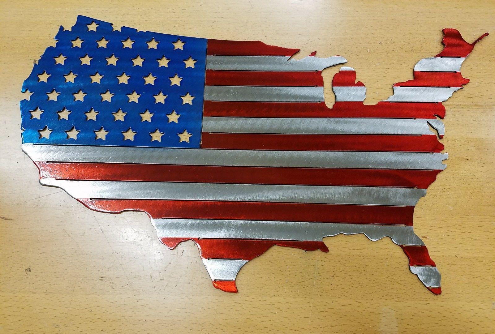 Usa Flag Metal Wall Art Plasma Cut Decor Us United States