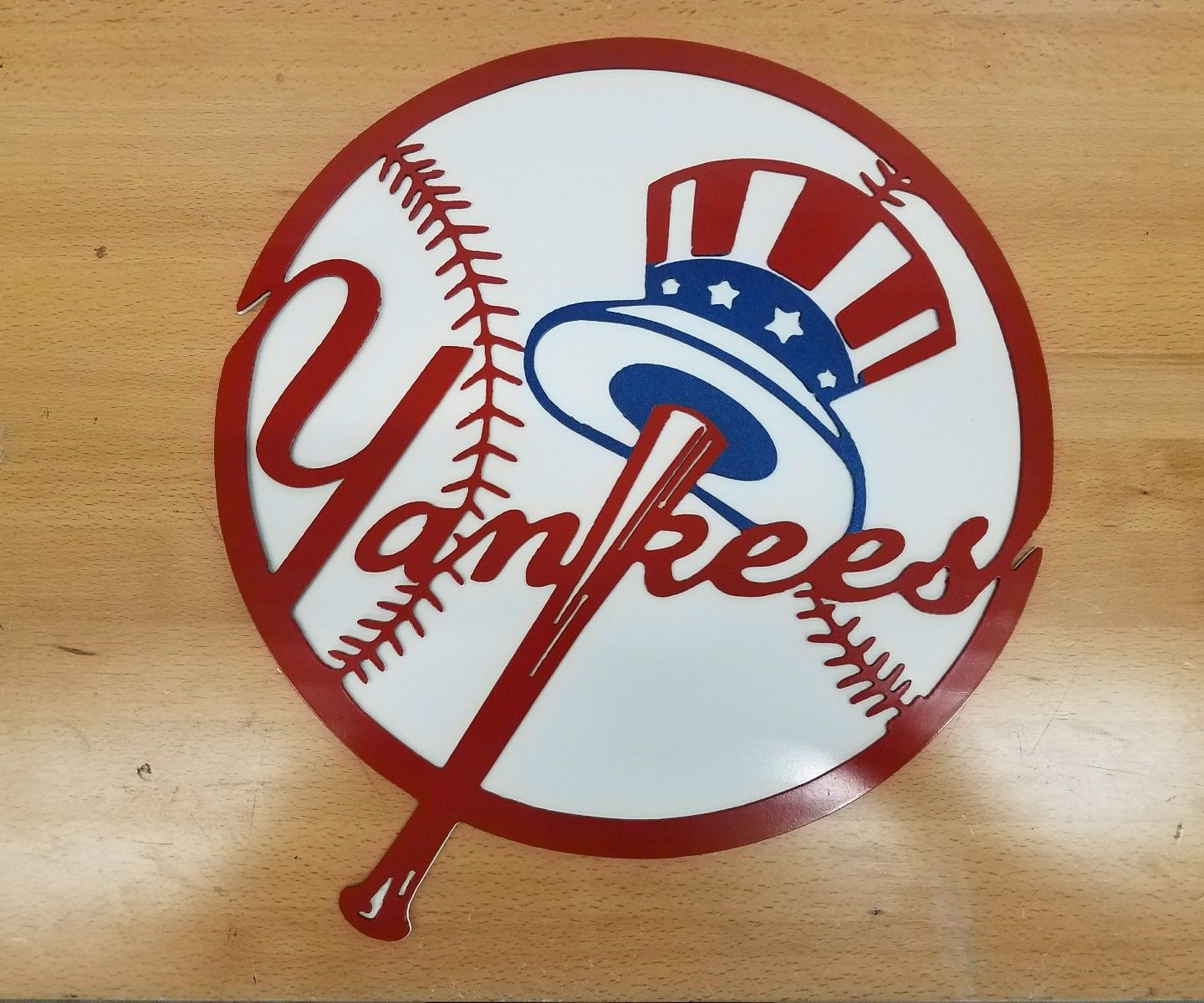 New York Yankees Home Decor: New York Yankees Logo 2 Piece Metal Wall Art Plasma Cut