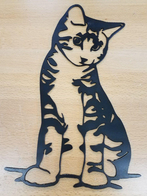Kitty Cat Metal Wall Art Plasma Cut Decor Cat Gift Idea