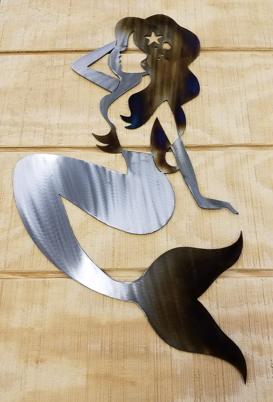 Mermaid Metal Wall Art Plasma Cut Decor Gift Idea Nautical