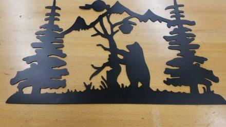 Honey Bear mountain metal wall art plasma cut home decor gift idea