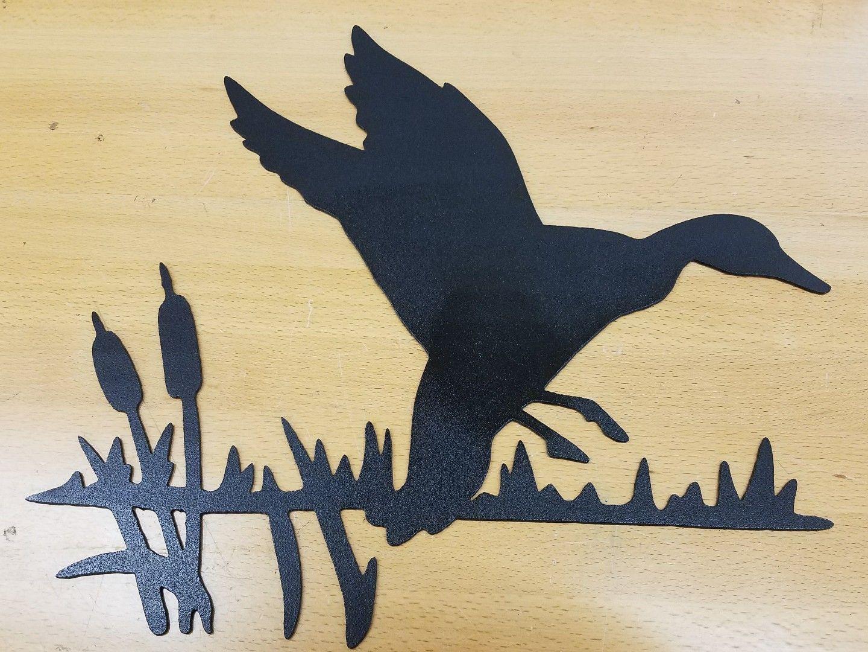 Duck in cat tails metal wall art plasma cut sign gift idea - Gas Pro ...