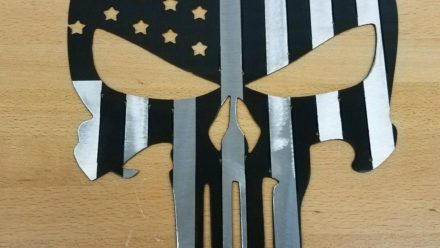 Punisher Flag Skull metal wall art plasma cut decor Military USA gift idea