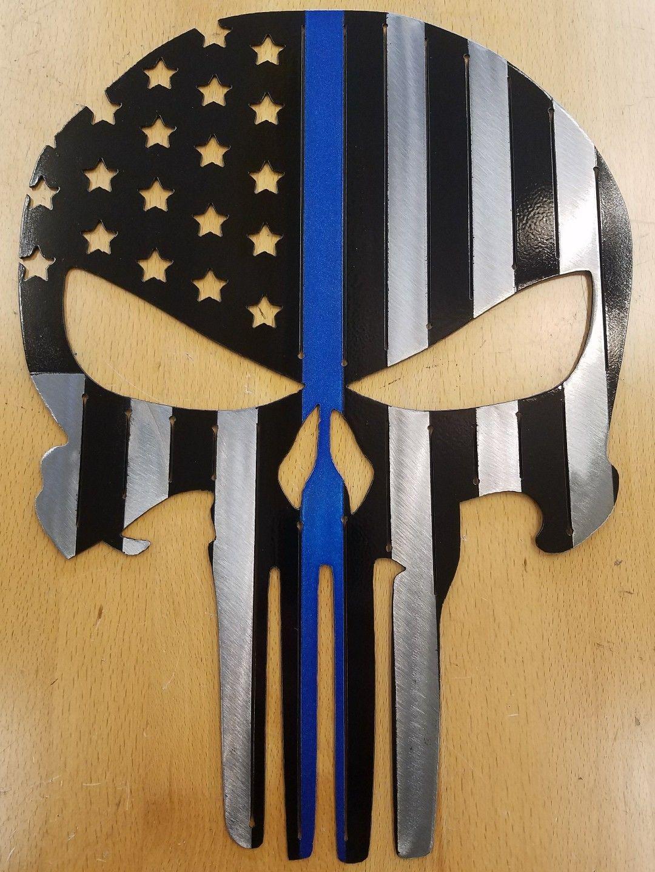 Punisher Flag Skull Blue Lives Matter Metal Wall Art