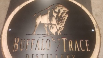 Buffalo Trace metal art on Whiskey Barrel lid